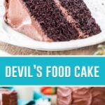 collage of devils food cake, top image of single slice, bottom image of slice with whole cake behind it