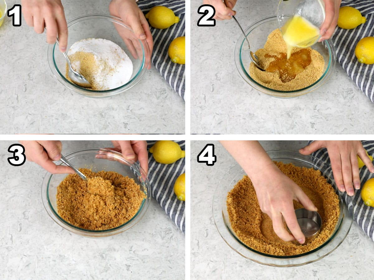 Mixing the sugars and graham cracker crumbs, drizzling in the butter, mixing the crumbs and butter, and pressing the crumbs into a pie plate