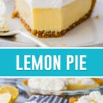 collage of lemon pie, top image of single slice with bite taken out, bottom image of two full slices