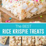 collage of rice krispie treat, top image close up of single square, bottom image of multiple squares cut