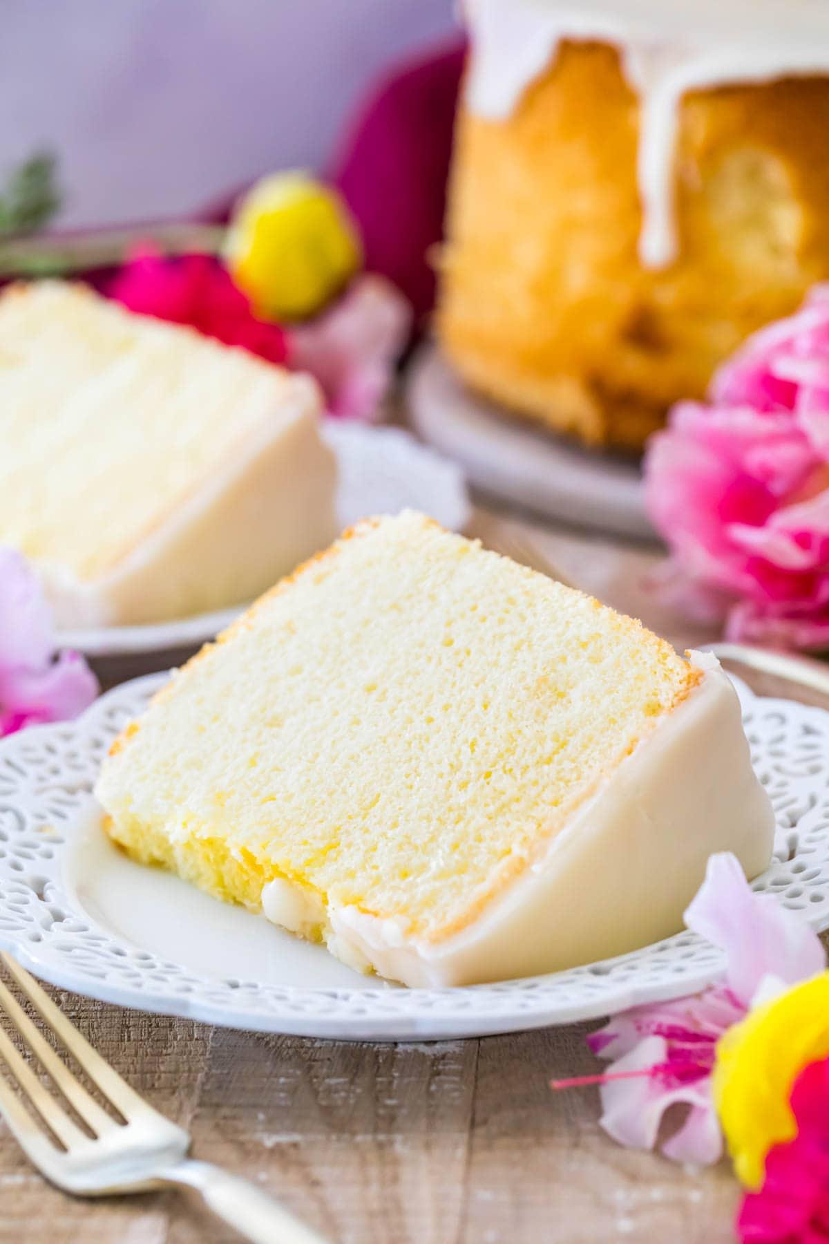 Slice of fluffy chiffon cake on a white plate