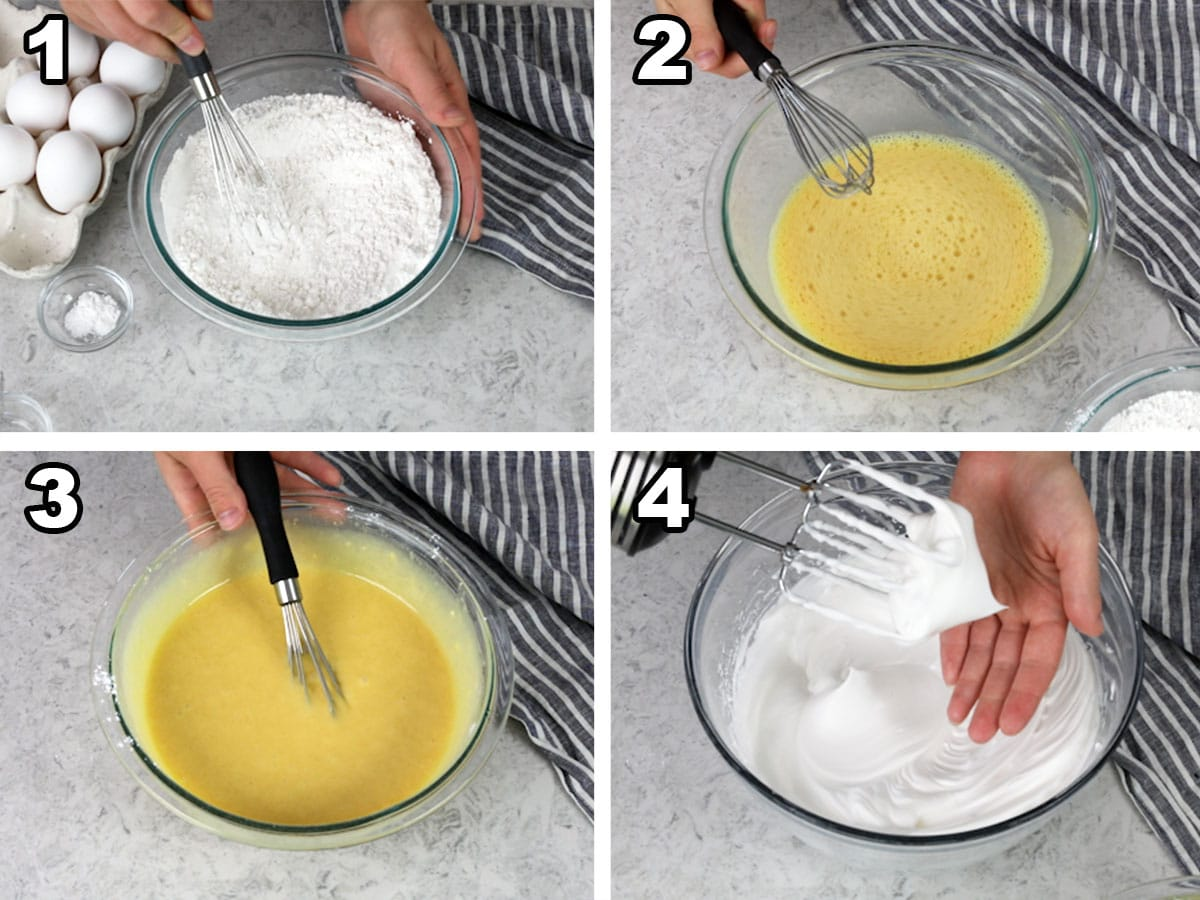 Collage showing the steps to make Chiffon cake batter 1) whisking dry ingredients, 2) whisking egg yolks, 3) combining dry ingredients and egg yolks, 4) whipping egg whites to stiff peaks