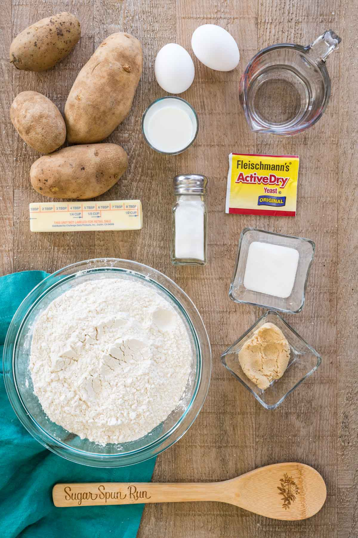 Ingredients for potato buns