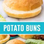 collage of potato buns, top image close up of bun sliced, bottom image of same bun of marble slab