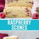 collage of raspberry scones, top image of three scones stacked, bottom image of scones on marble slab