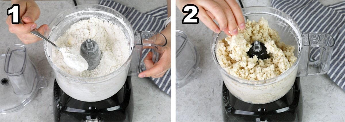 Steps to making scones showing coarse crumbs and the batter clumping together after adding the heavy cream and vanilla extract