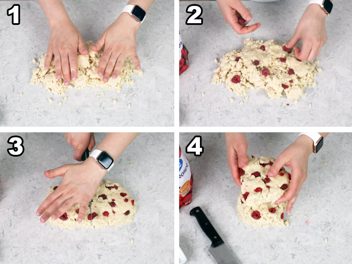 Working the dough into a rectangle, pressing the raspberries into the dough, cutting the dough in half, and stacking the dough halves