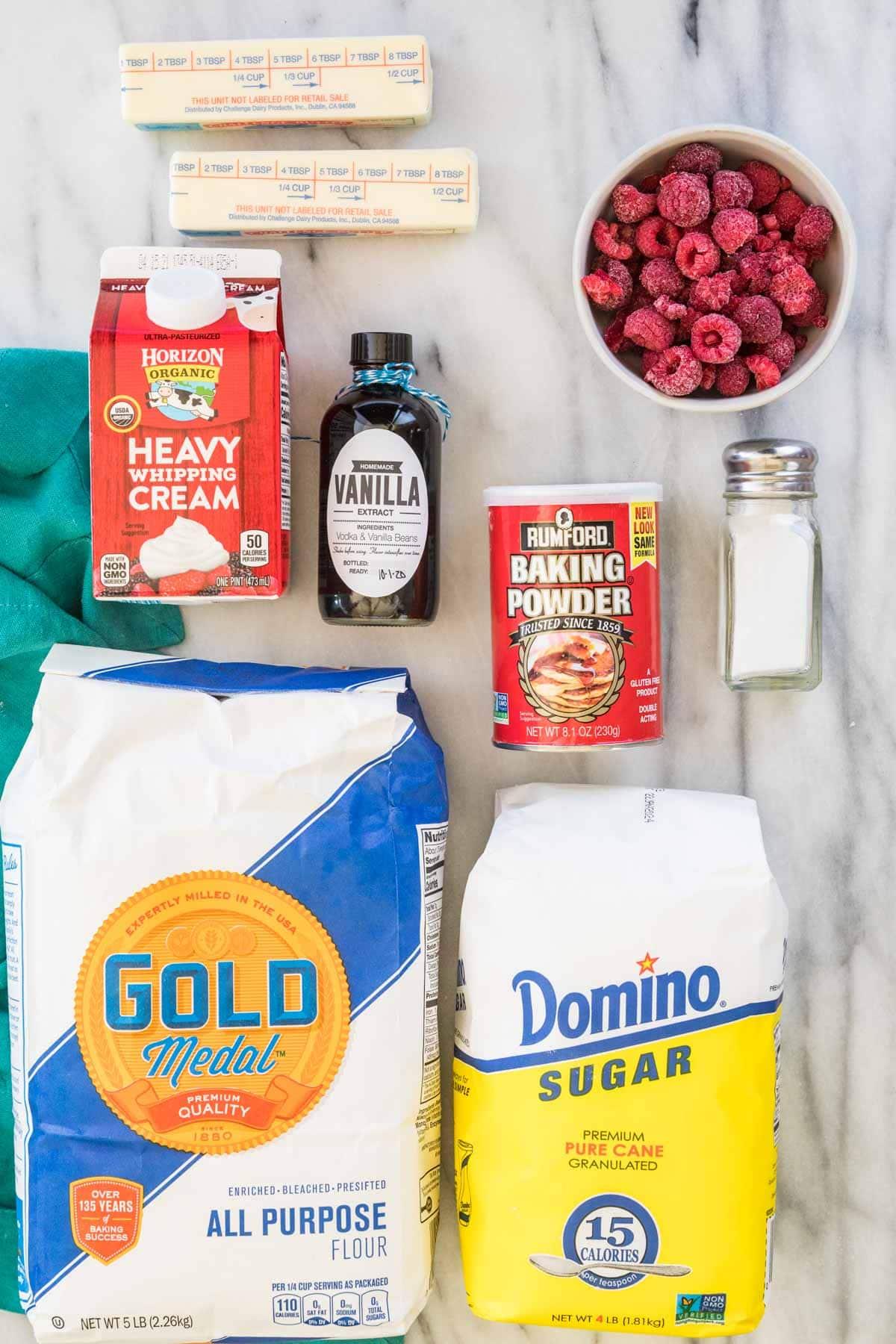 Butter, heavy whipping cream, homemade vanilla extract, baking powder, raspberries, salt, all-purpose flour, and granulated sugar
