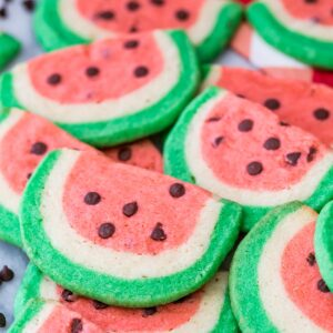 sugar cookies shaped and colored like watermelon slices