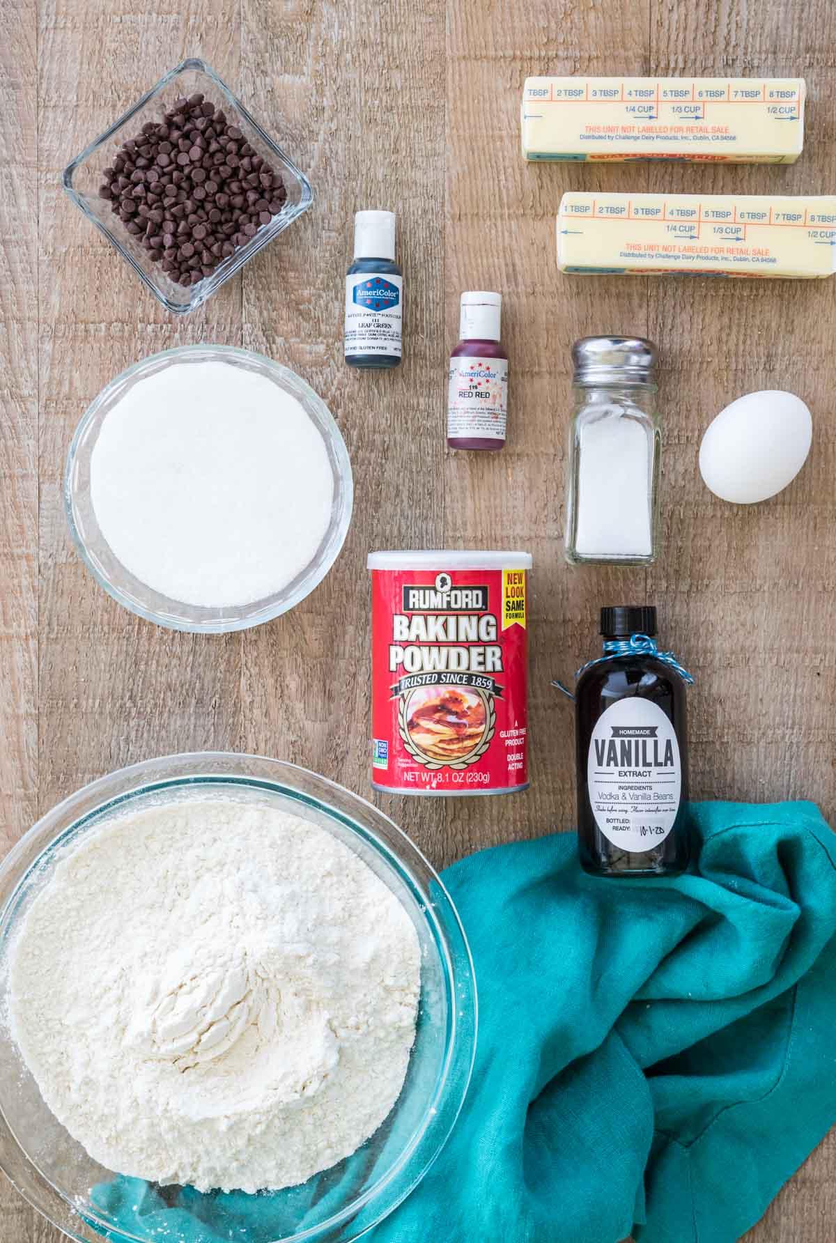 Ingredients to make watermelon sugar cookies