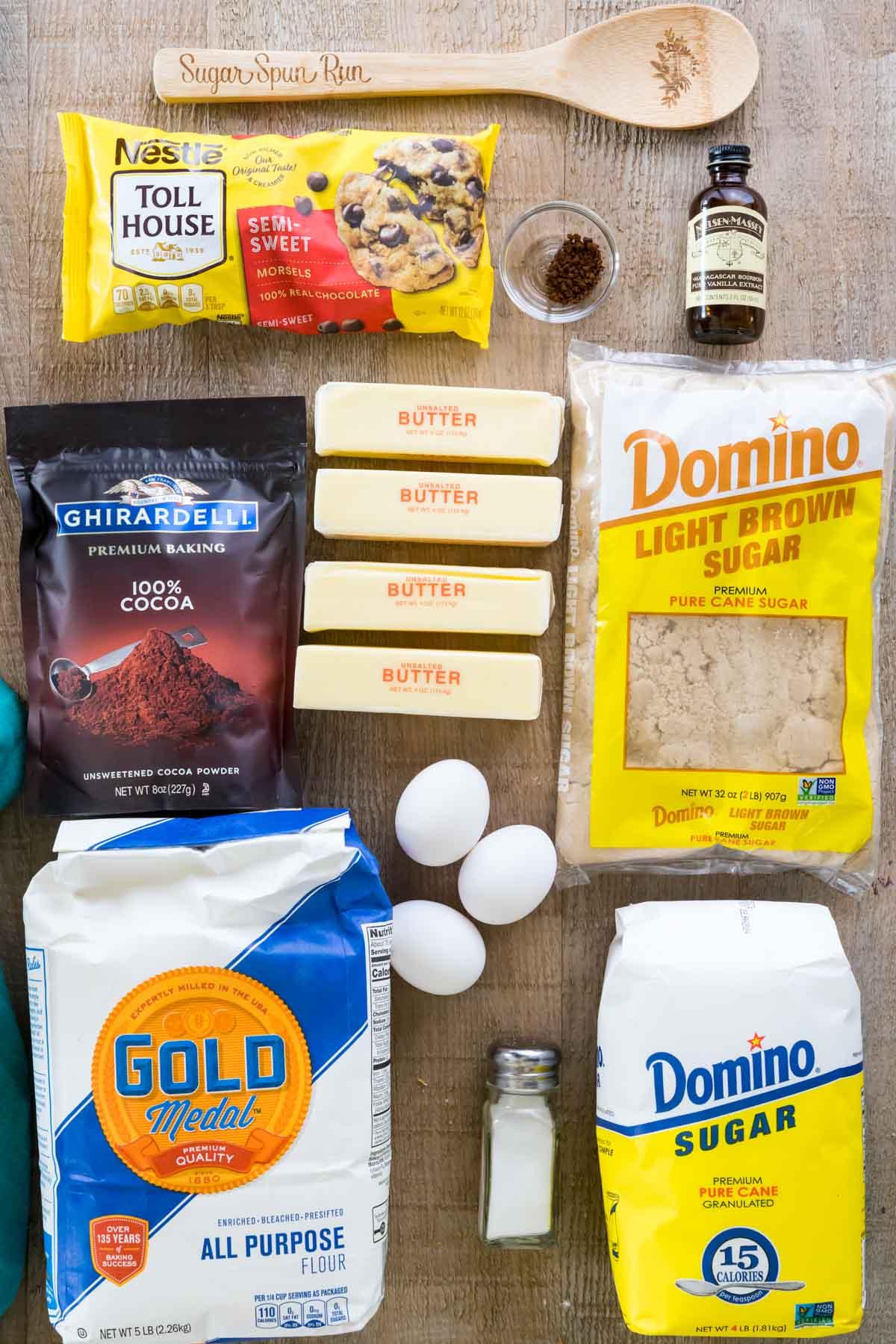 Ingredients for cookie dough brownies