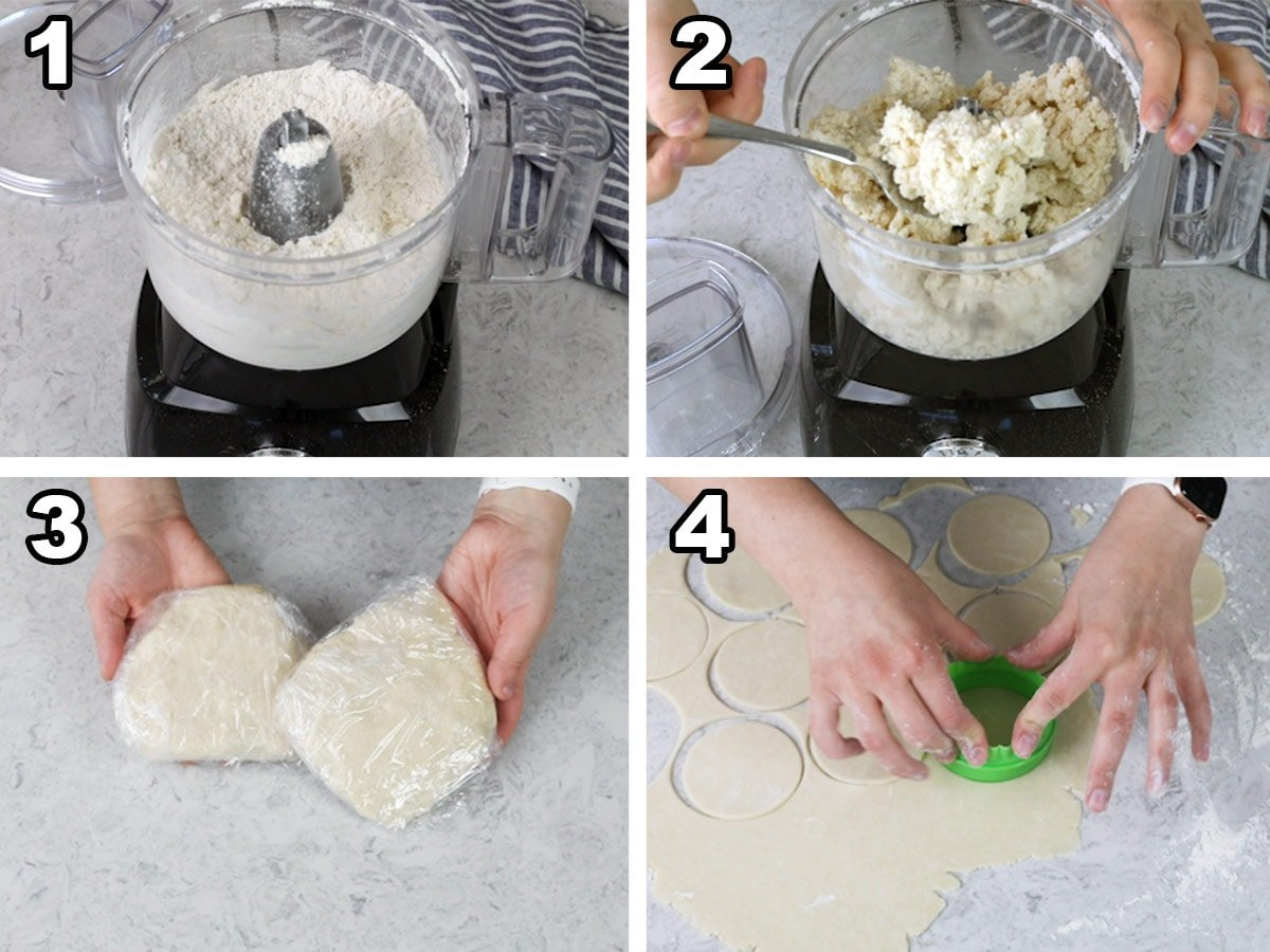 Collage showing the 4 steps to make dough for hand pies: 1) pulsing dry ingredients and butter in food processor 2) adding sour cream and pulsing til combined 3) wrapping dough in two discs 4) cutting out dough with cookie cutter