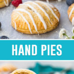 collage of hand pies, top image of several evenly placed on marble slab, bottom image of hand pie cut in half and stacked.