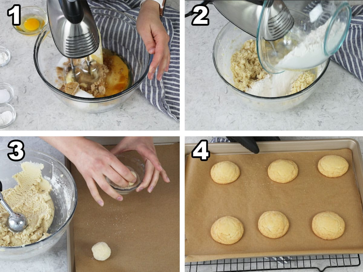 Collage of 4 photos showing how to make honey cookies, detailed in writing below the image