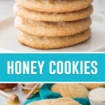 collage of honey cookies, top image of cookies stacked, bottom image is of cookies on white plate