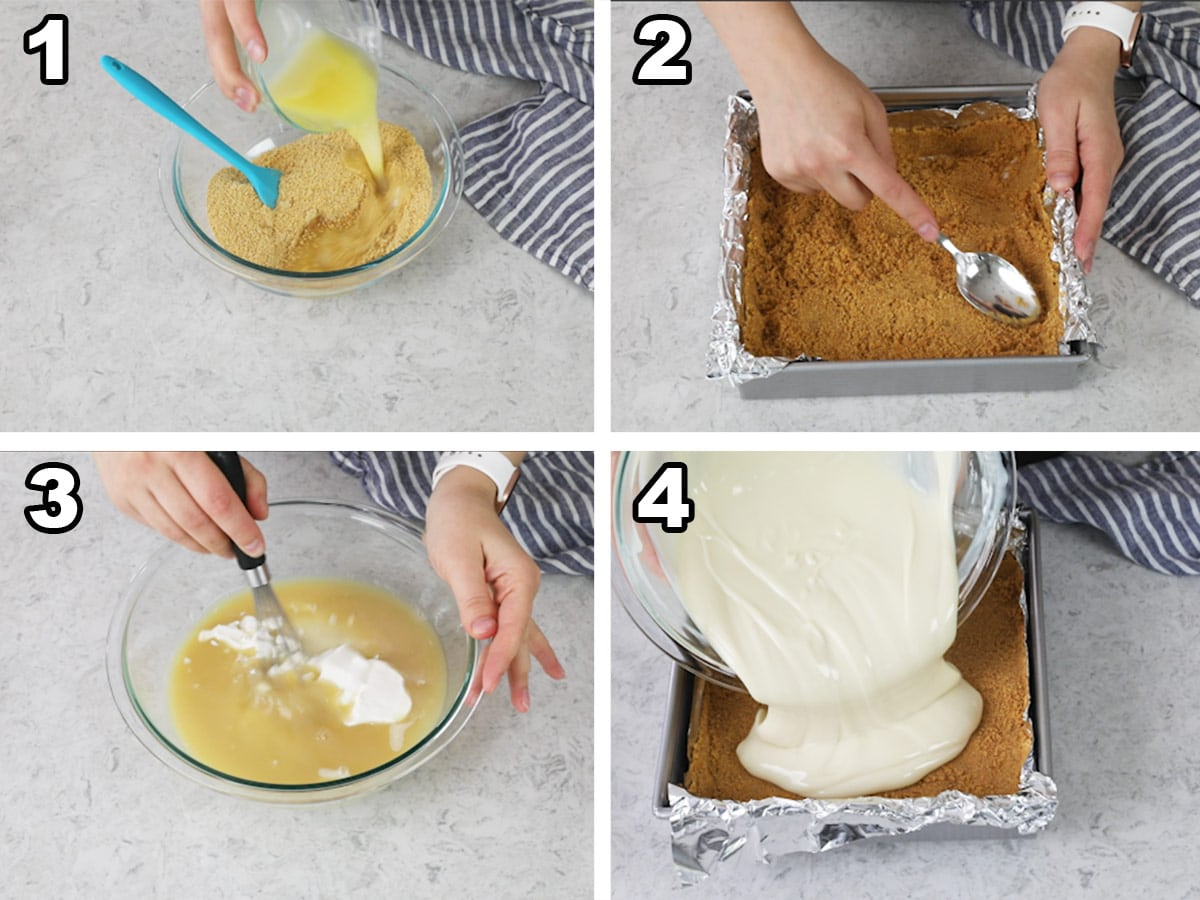Collage of 4 photos showing how to make key lime pie bars