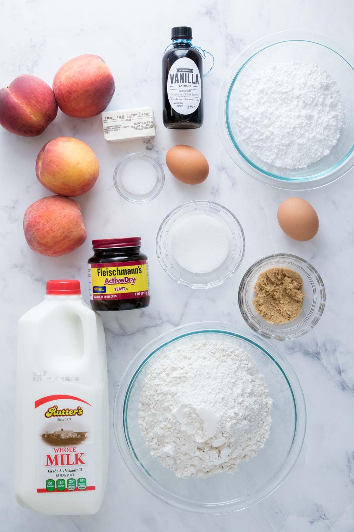 Ingredients for peach cake