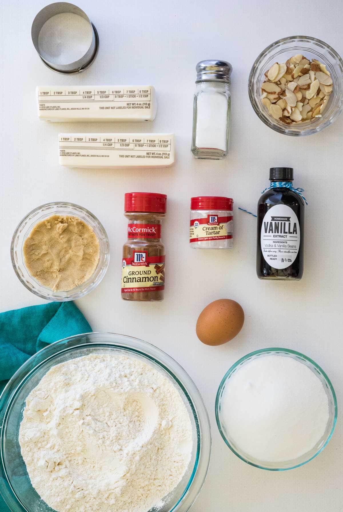 Ingredients for sand dollar cookies