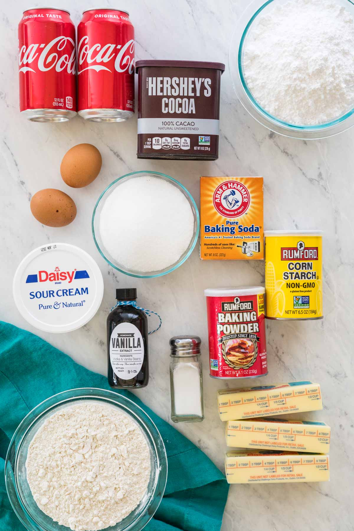 Overhead view of ingredients to make coca cola cake