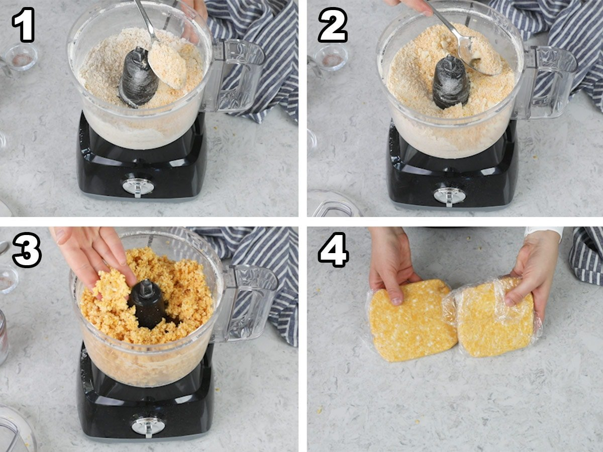 Collage of four photos showing how to make homemade cheese crackers