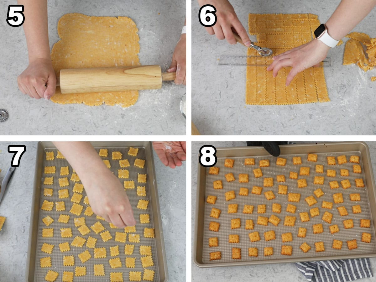 Collage showing four steps of process for making cheese crackers