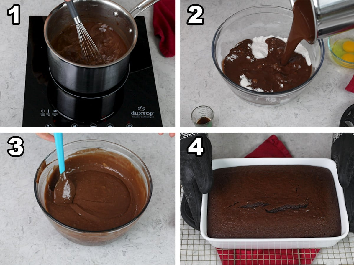 Collage of four photos showing how to make coca cola cake