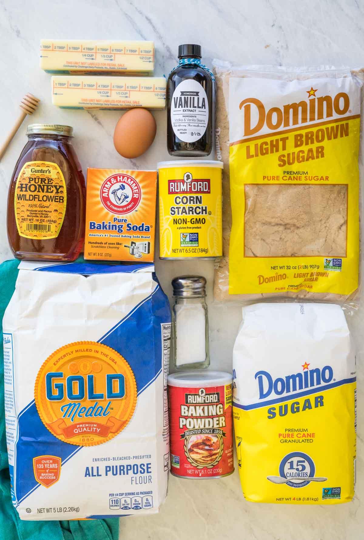 ingredients for honey cookies