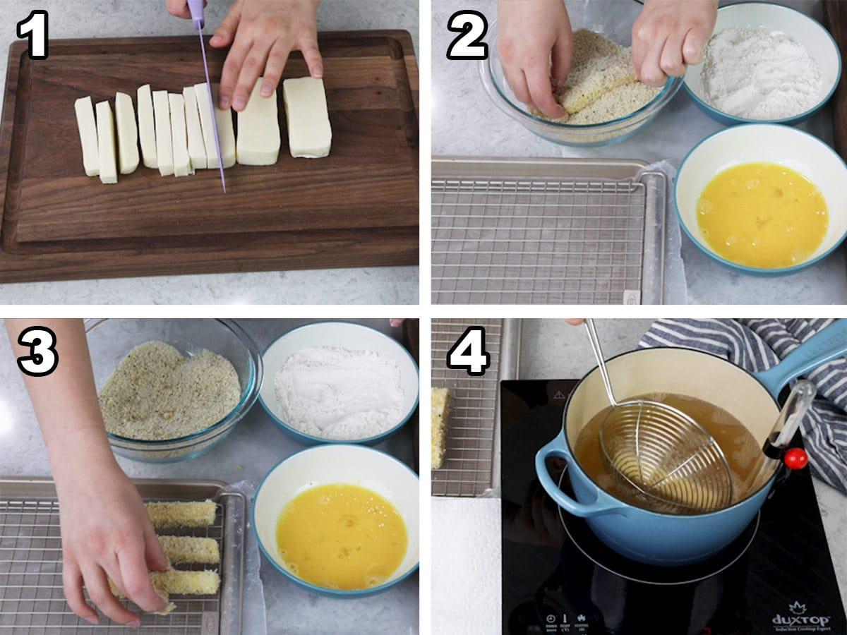 Collage of 4 photos showing how to make homemade mozzarella sticks