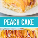 collage of peach cake, top image is close up of single slice on white plate, bottom image is of full cake