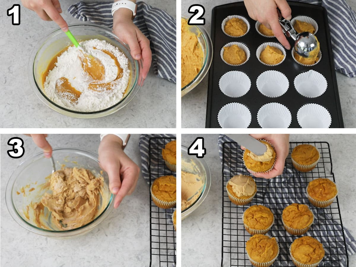 Collage of four photos showing how to make pupcakes