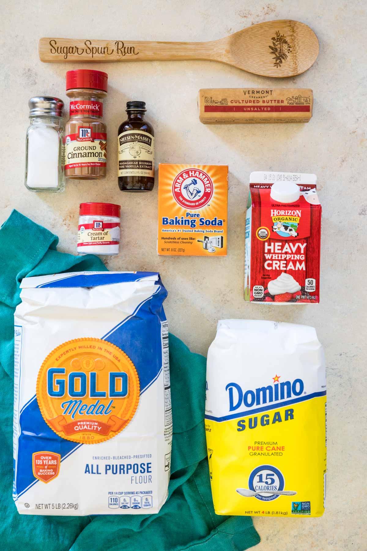 Overhead view of ingredients for snickerdoodle scones