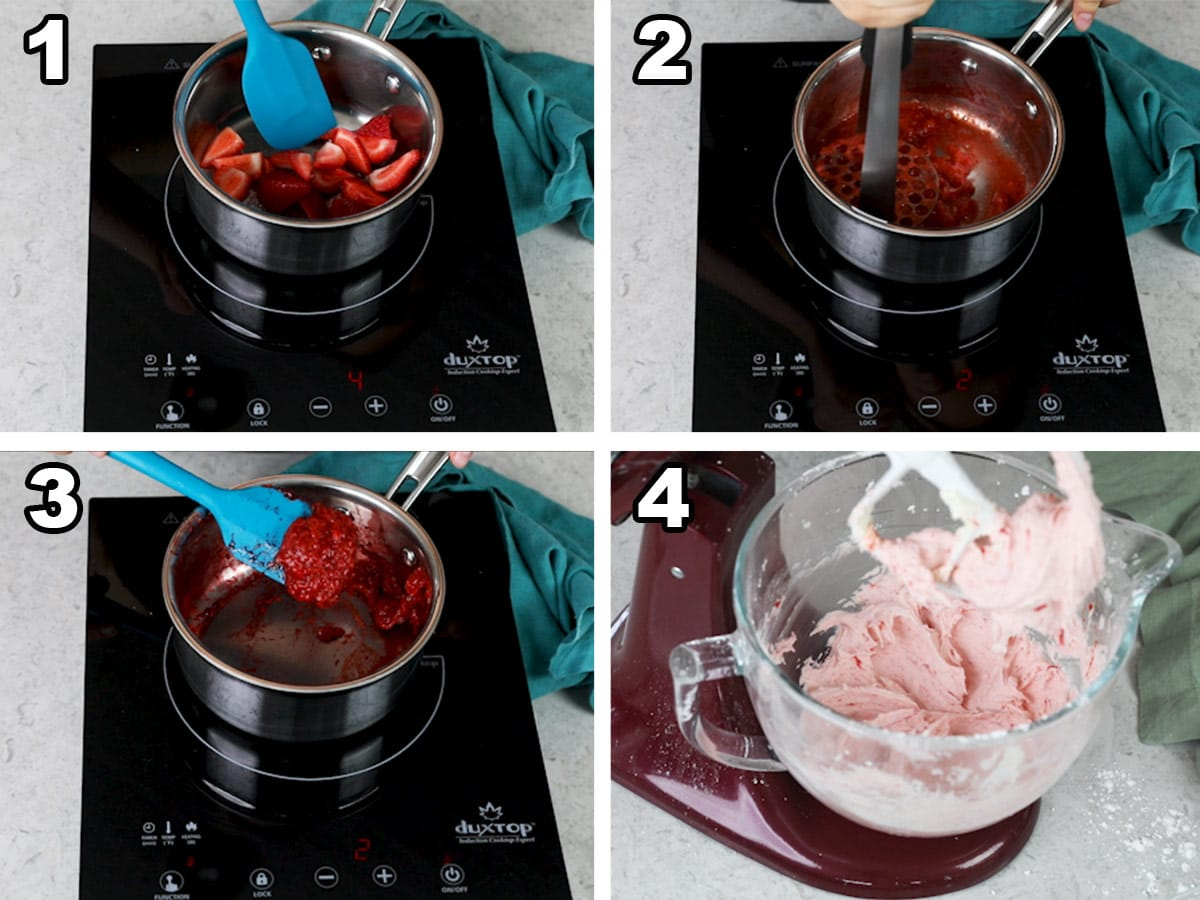 Collage with four photos showing how to make strawberry buttercream using fresh strawberries