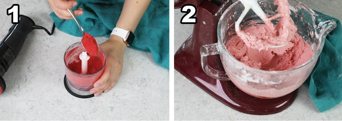 Collage with two photos showing how to make strawberry buttercream using freeze-dried berries
