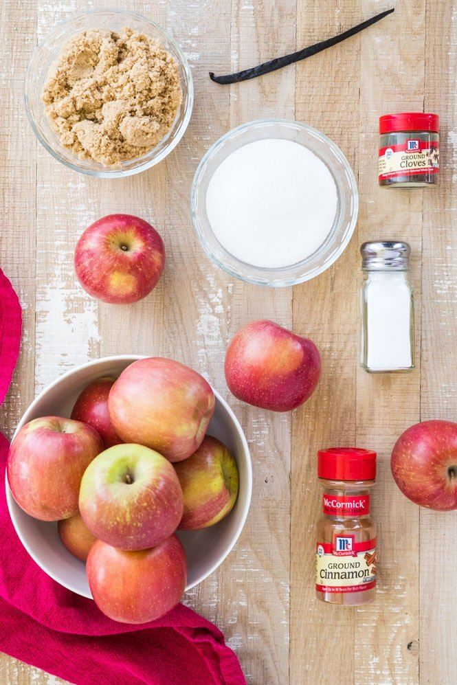 Ingredients for making apple butter