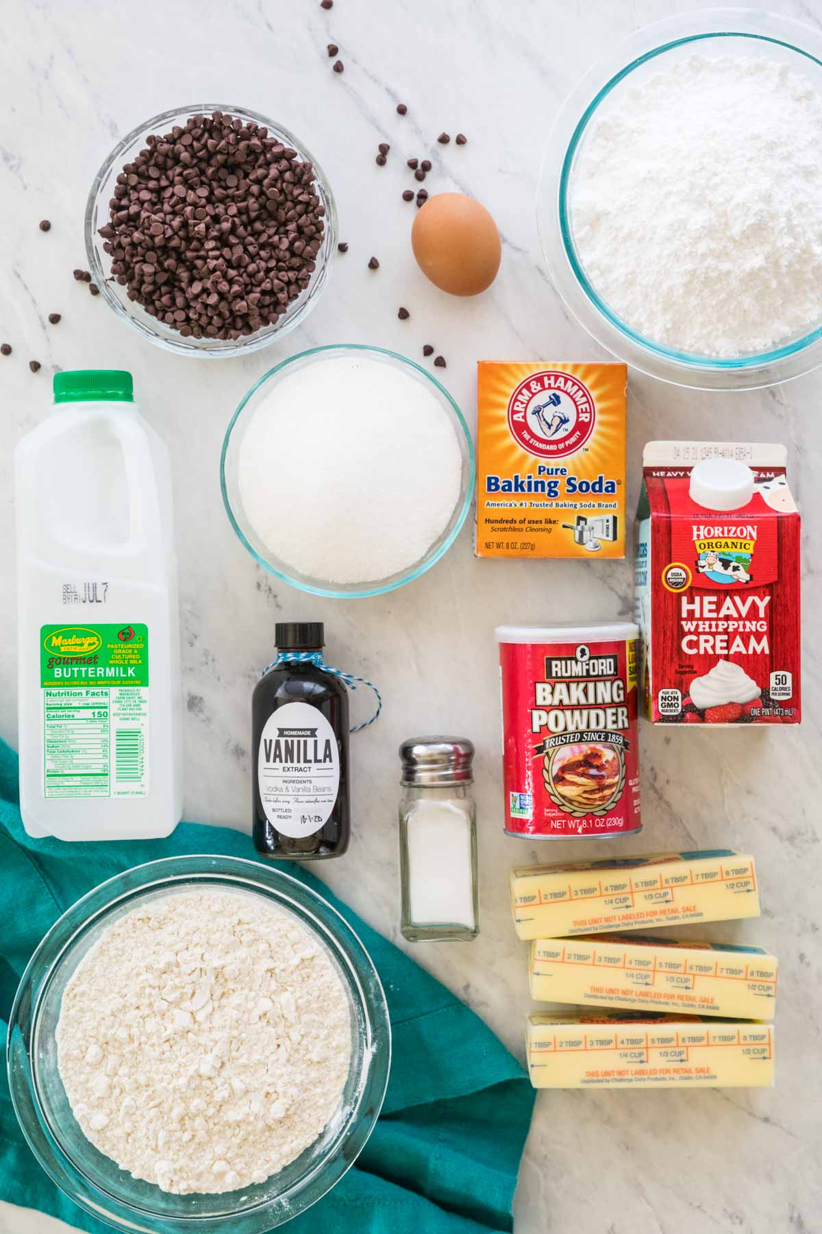 Ingredients for chocolate chip sheet cake