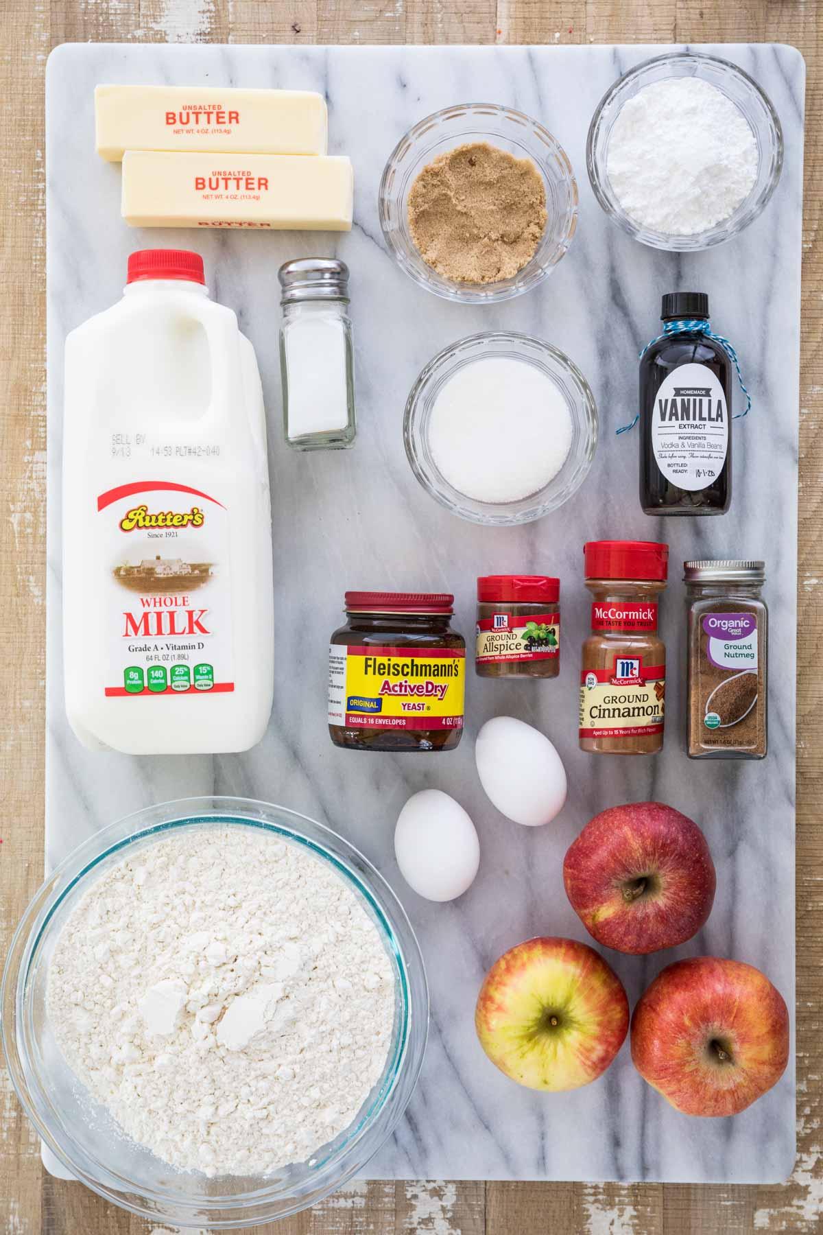 overhead view of ingredients for apple cinnamon rolls