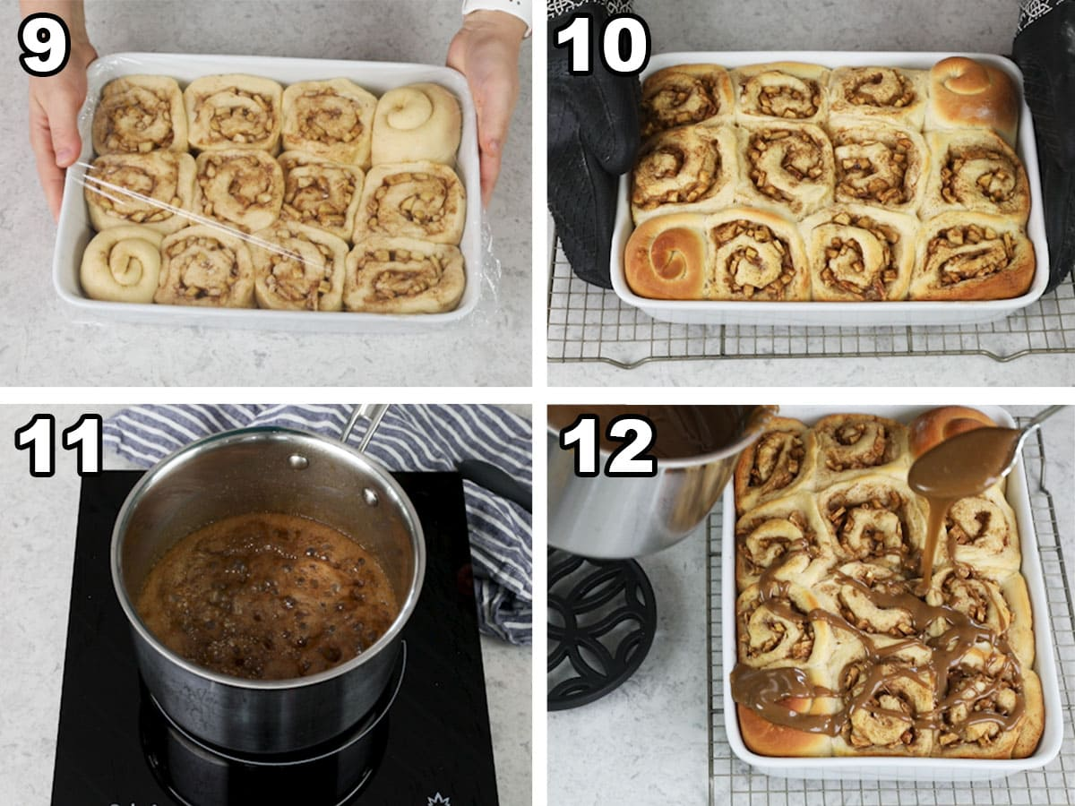 collage of four photos showing apple cinnamon rolls coming out of the oven and being glazed