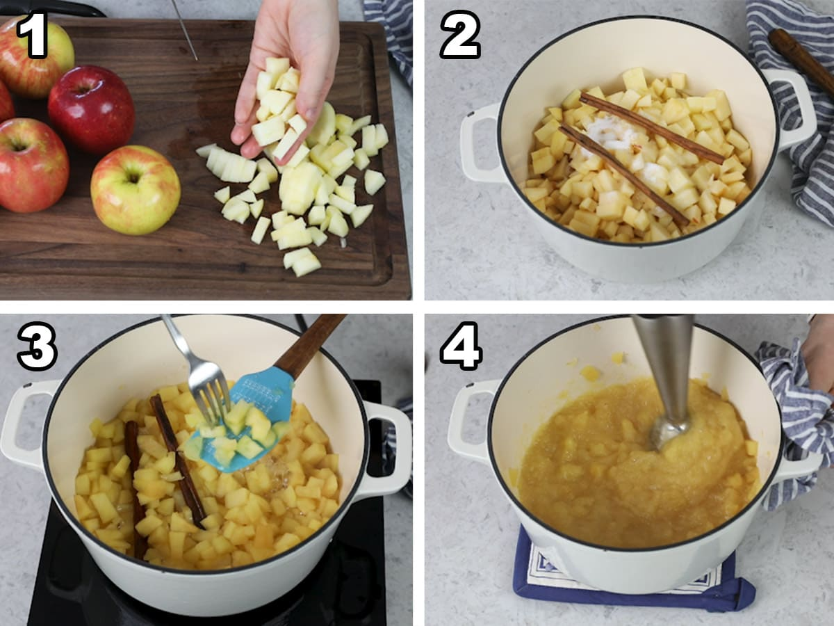 collage of four photos showing how to make homemade applesauce