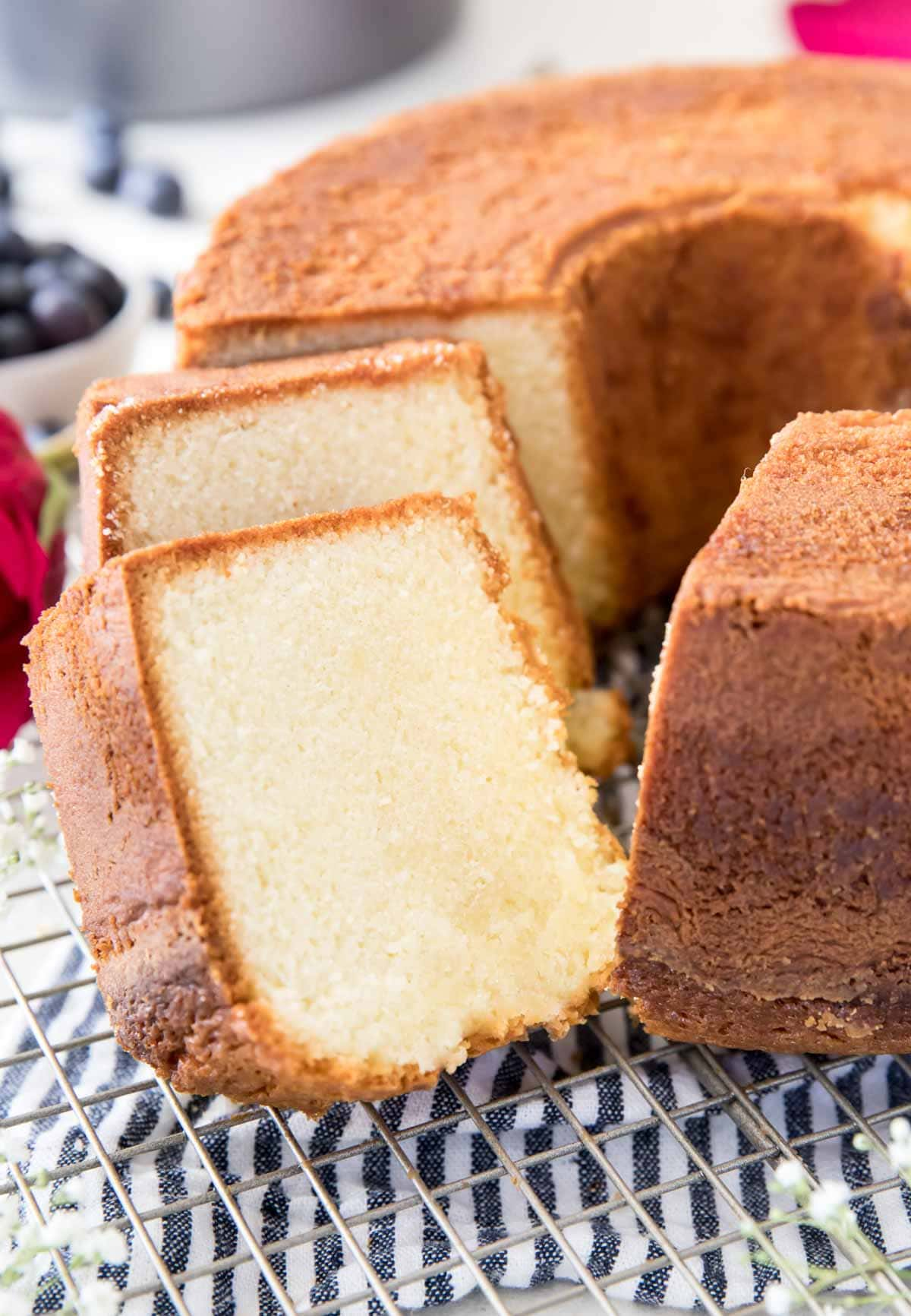 two slices of freshly cut pound cake