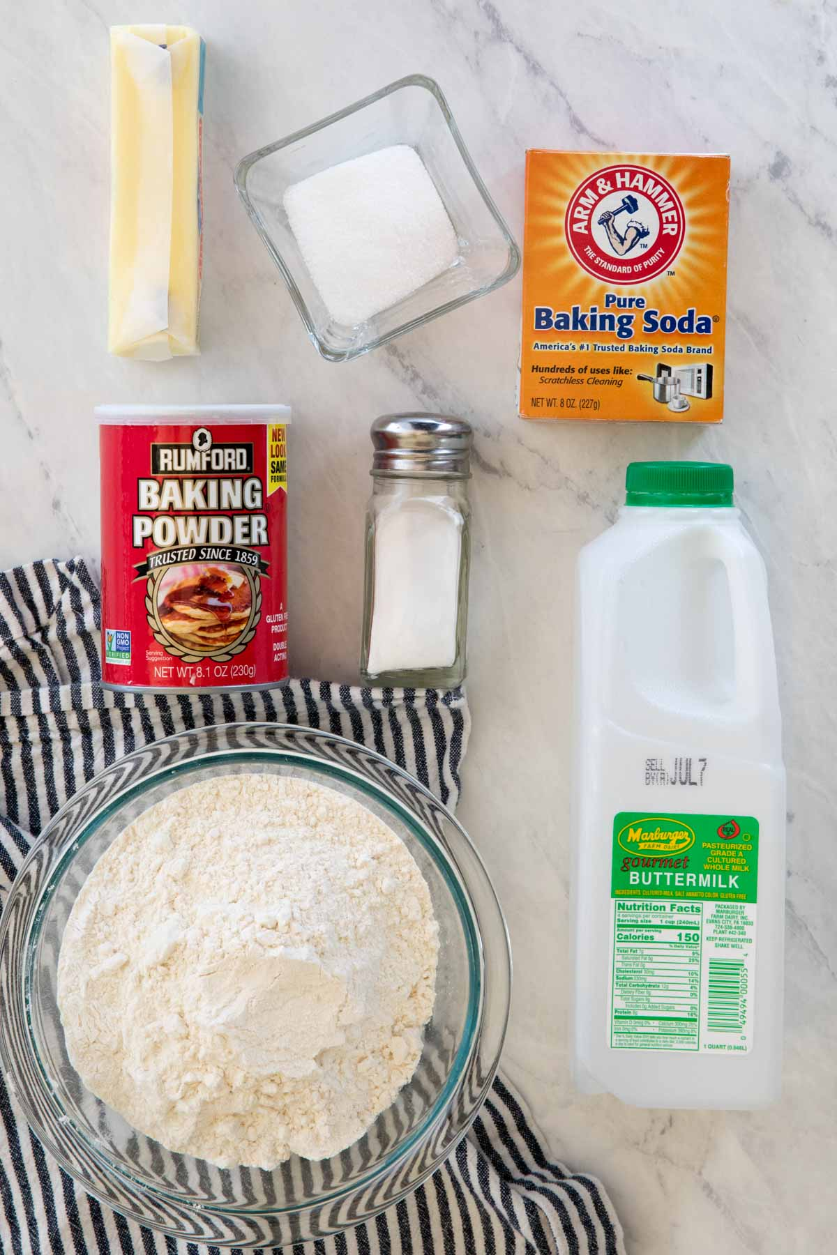 Overhead view of ingredients for drop biscuits
