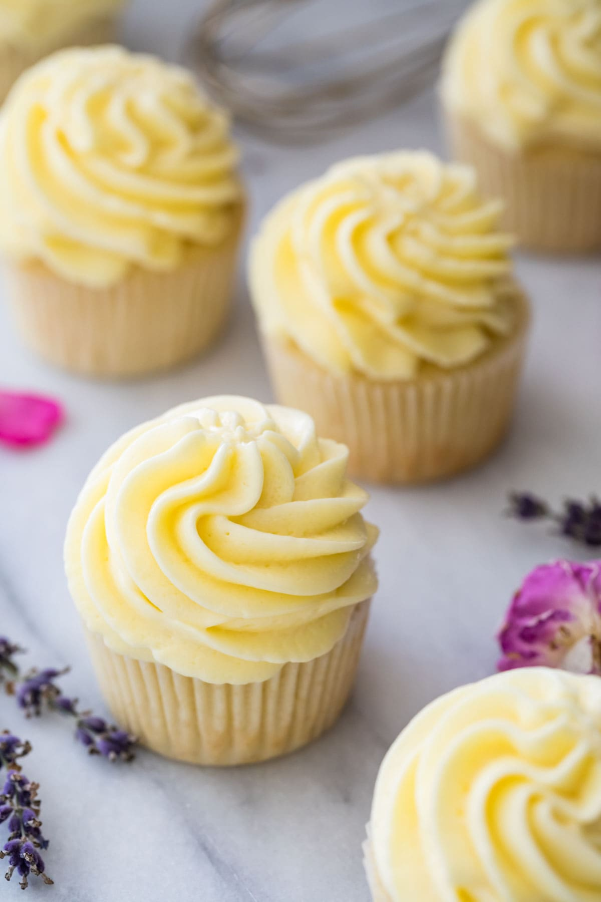 overhead view of cupcakes topped with piped German buttercream