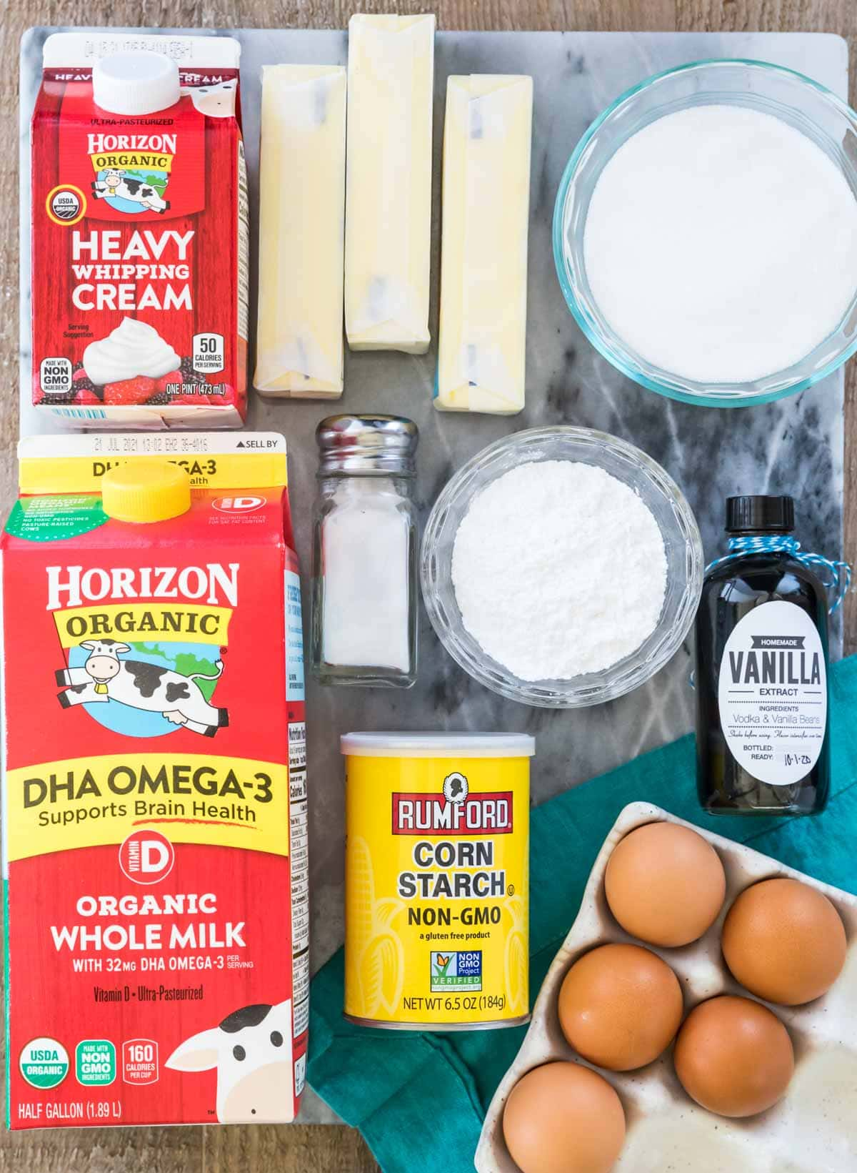 Overhead view of ingredients for making German buttercream
