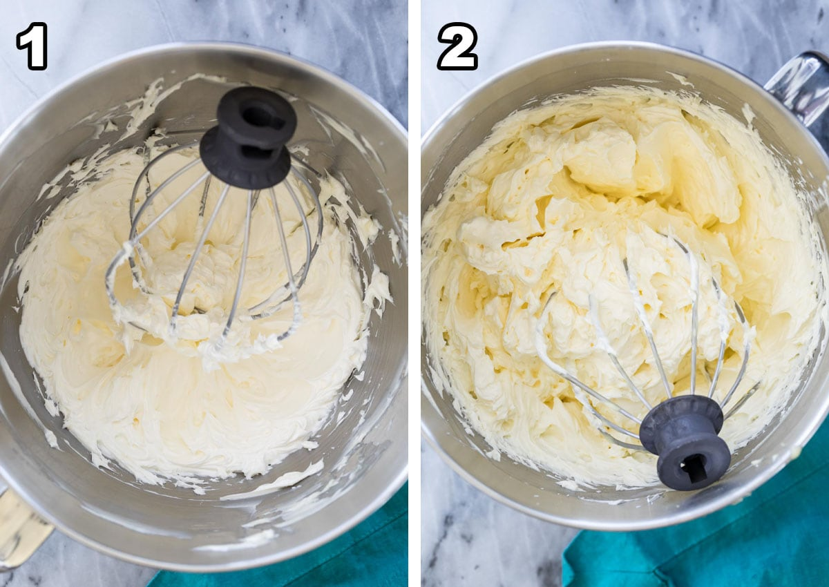 collage of the two step process needed to make german buttercream