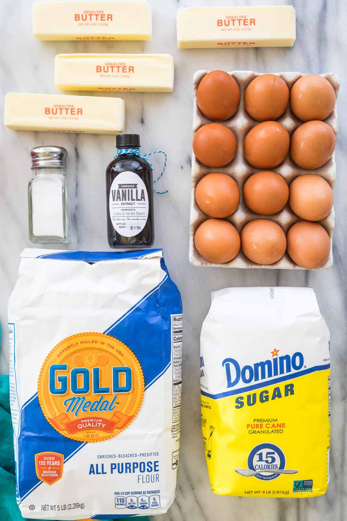 Overhead shot of ingredients for making pound cake
