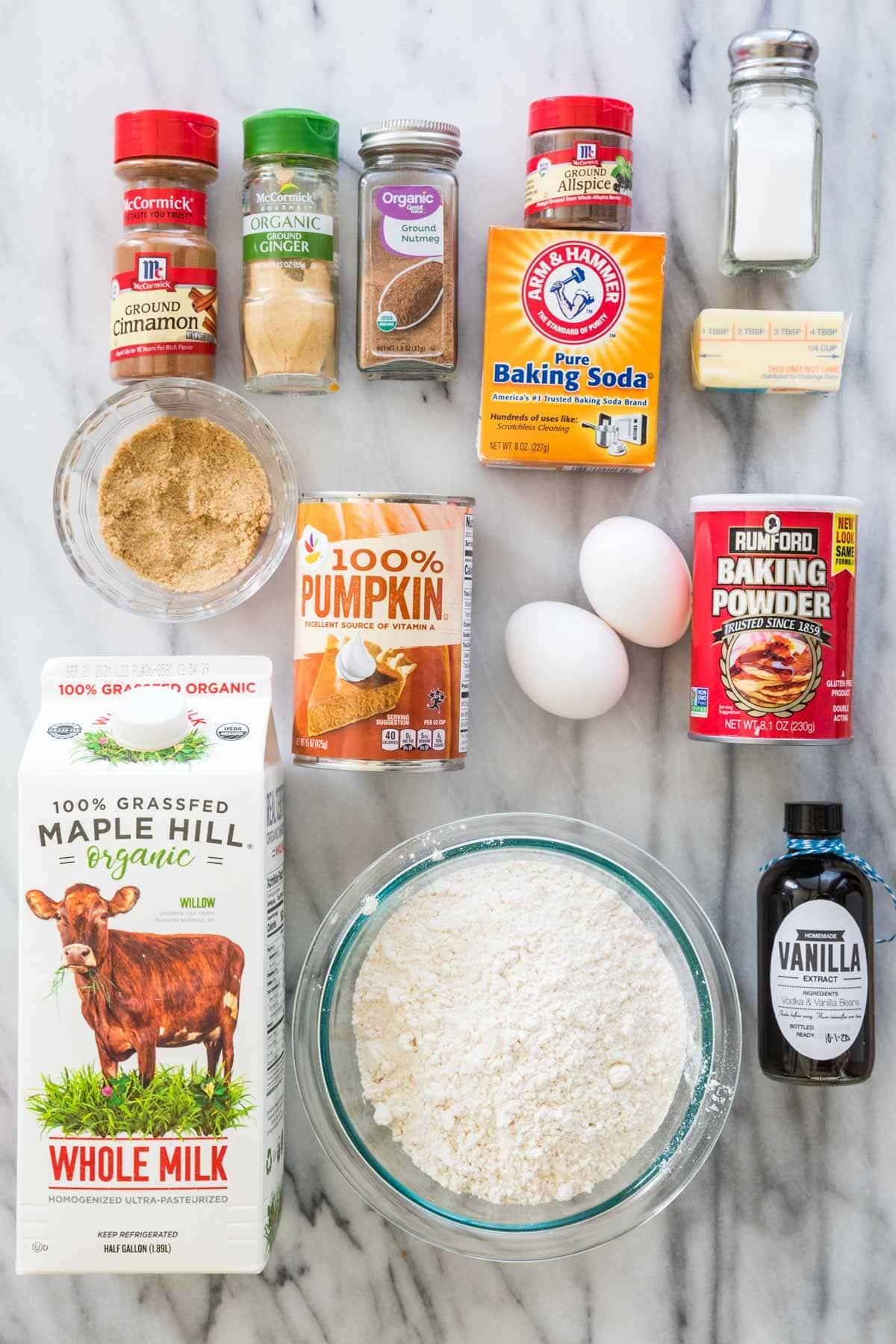 overhead view of ingredients for pumpkin pancakes